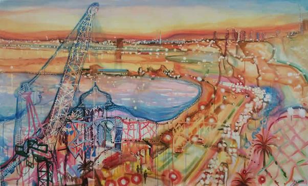 Twilight Seranade Port Phillip Bay 2015 Artist Enza Benincasa 150 x240cm